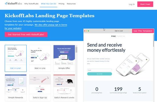 KickoffLabs Landing Page Templates