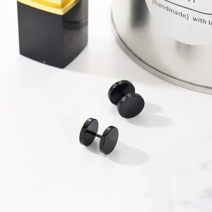 Double Sided Round Bolt Stud Men Earrings