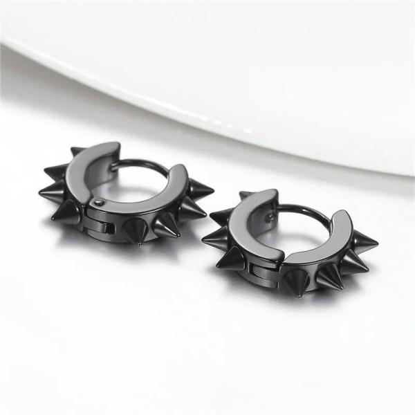 Black Spike Earrings Stainless Steel For Men