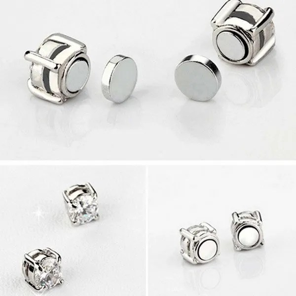 Punk Zircon Magnetic Stud Earrings Men