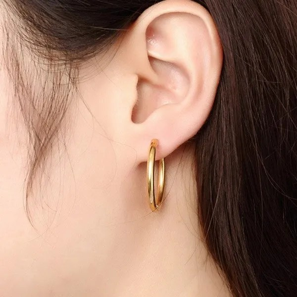 Stainless Steel Black Round Hoop Men Earrings Gold