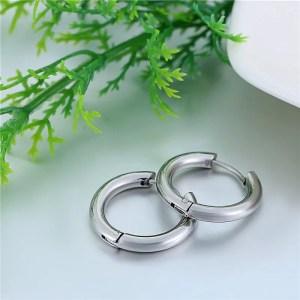 Stainless Steel Black Round Hoop Men Earrings Silver