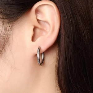 Stainless Steel Black Round Hoop Men Earrings
