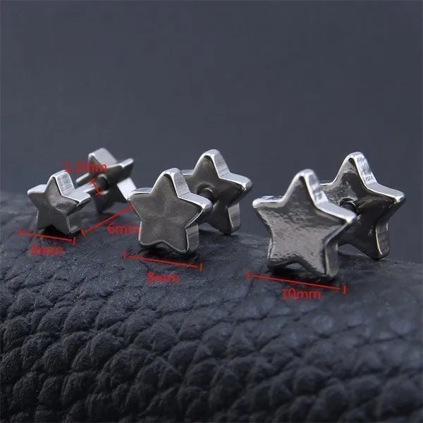 316 Stainless Steel Ear Stud Star Men Earrings 2018 Silver