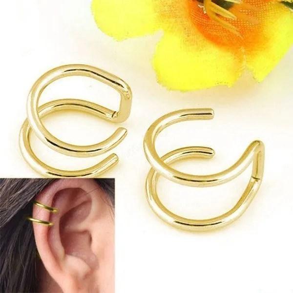 Clip-on Wrap Non Pierced Men Earrings Gold