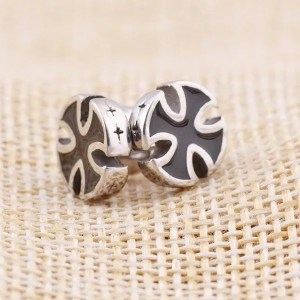 Stainless Steel Black Cross Stud Men Earrings