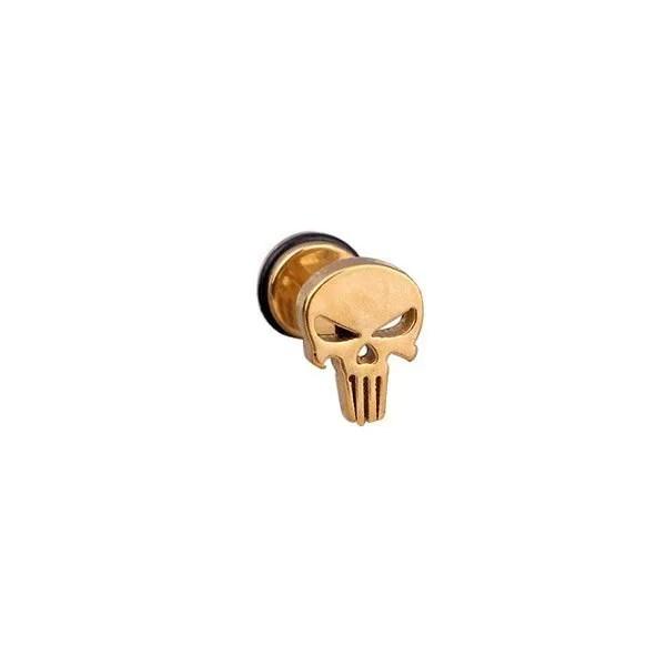 Stainless Steel Punk Skull Studs Men Earrings Gold