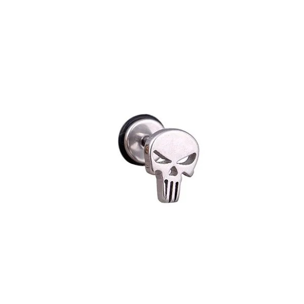 Stainless Steel Punk Skull Studs Men Earrings Silver