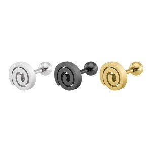 Black Swirl Circles Stud Men Earrings