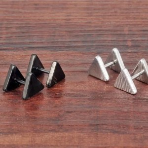 Stainless Steel Triangle Stud Men Earrings