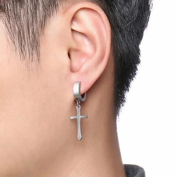 Cross Huggie Stud Men Earrings