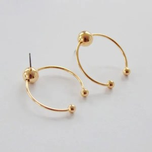 Gold Silver Round BTS Stud Earrings Men
