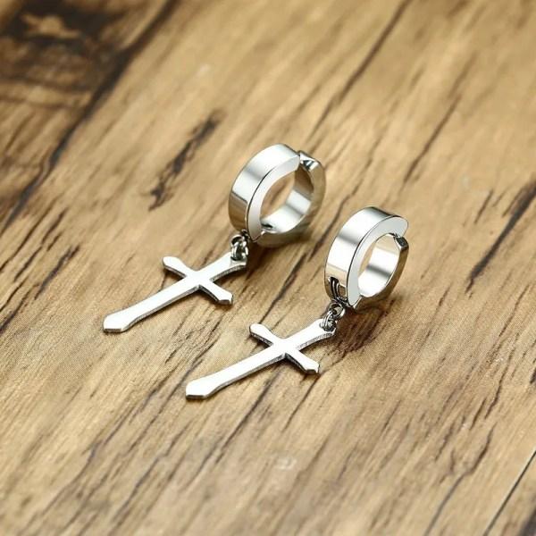 Cross Huggie Stud Men Earrings