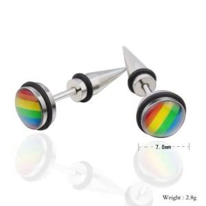 Rainbow Round Stud Stainless SteelMen Earrings
