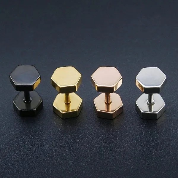 Double Hexagon Studs Earrings Men