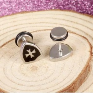 Stainless Steel Shield Cross Men Earring