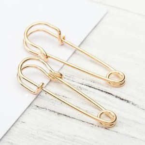 Small Safety Pin Stud Men Earring Gold
