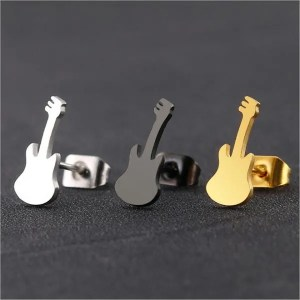 Titanium Violin Stud Men Earrings