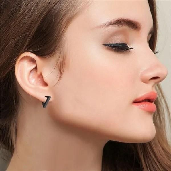 Triangle Stainless Steel Hoop Men Earrings