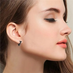 Triangle Stainless Steel Hoop Men Earrings