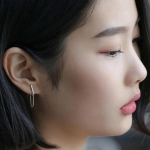 Rod Ear Plug BTS Chain Stud Earrings