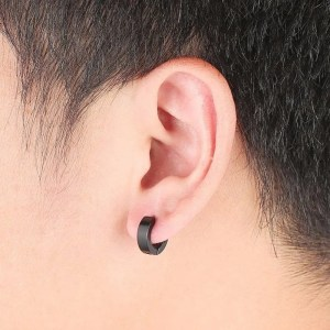 Punk Stainless Steel Hoop Men Round Earring