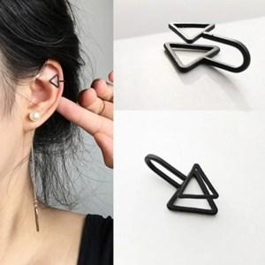Black Triangle Clip Earrings