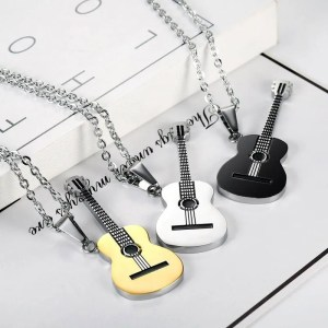 Titanium Music Guitar Men Necklace