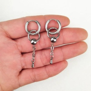 BTS Circle Stainless Steel Drop Earring Mens