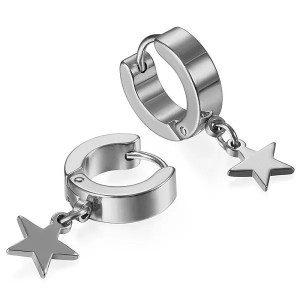 Black Hoop Star Drop Earrings for Men
