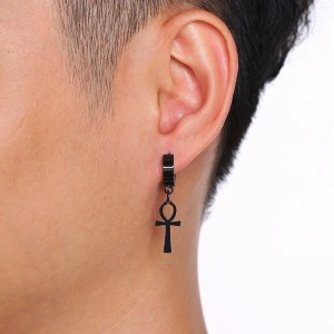 Black Ankh Cross Earrings Stainless Steel