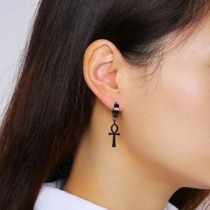 Black Ankh Cross Earrings Stainless Steel 1