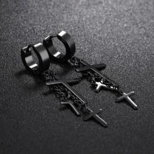 Dangling 3 Cross Earrings For Guys 3