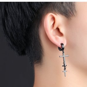 Dangling 3 Cross Earring For Guys