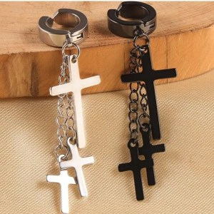 3 Hanging Cross Earring Men Clip On