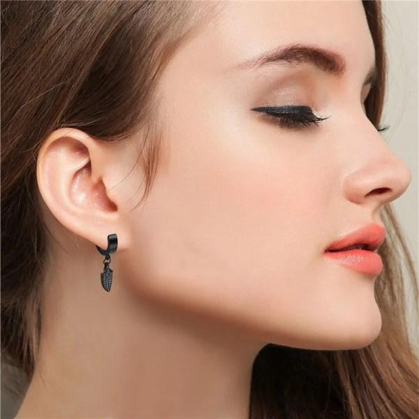 316L Stainless Steel Black Feather Earrings Men 5