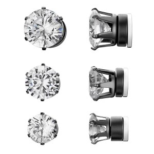 RoundMagnetic Earrings For Unpierced Ears Men 3 Sizes 3 Colors Black