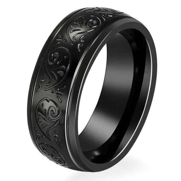 Mens Black Wedding Band 8mm Wide Stainless Steel