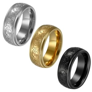 Mens Black Wedding Band 8mm Wide Stainless Steel 4