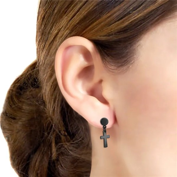 Stud Earring with Hanging Cross for Men Stainless Steel 3