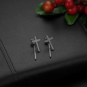 Cross Stud Earrings with dangle Bar for Guys Stainless Steel 4