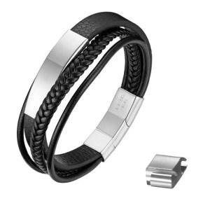 Mens Woven Leather Wrap Bracelet 3 Colors 2