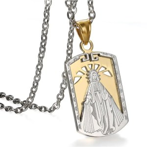 Virgin Mary Pendant Necklace Stainless Steel 2 Colors