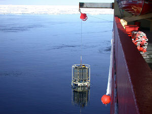 Pressure, temperature and salinity measurements from the Southern  Ocean helped the researcher calculate density gradients.