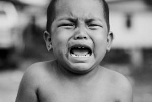 Boy Crying bw shirtless
