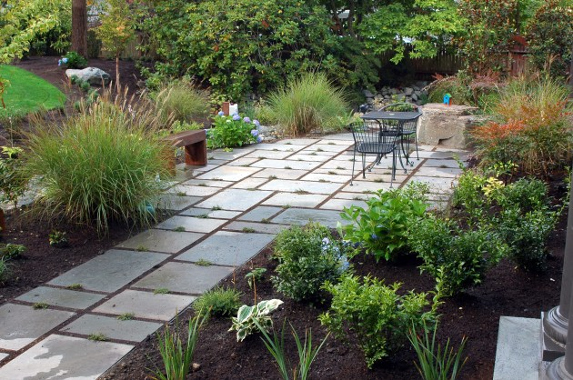 Permeable patio and plantings