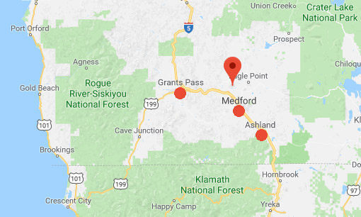 Rogue Valley, Oregon, is 11 miles north of Medford. It's in southwestern Oregon along the middle Rogue River and its tributaries in Josephine and Jackson counties near the California border. The largest communities in Rogue Valley are Medford, Ashland and Grants Pass.