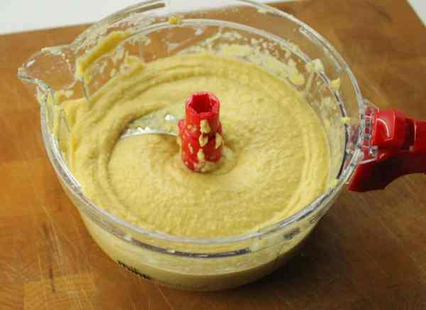 hummus after it is finished mixing