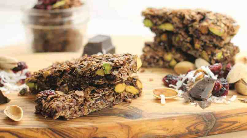 Healthy and delicious, these pistachio, cocoa, and cherry granoila bars are the perfect on the go snack food.