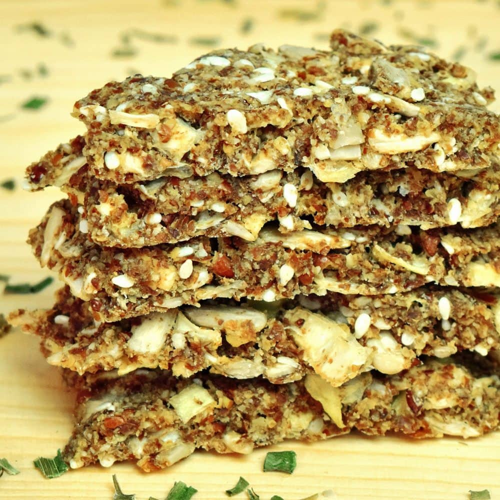 Garlic and Onion Flax Crackers [Vegan Recipe]